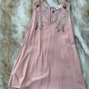 Boutique brand linen embroidered mini dress